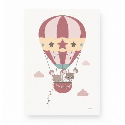 affiche pour enfant montgolfière rose