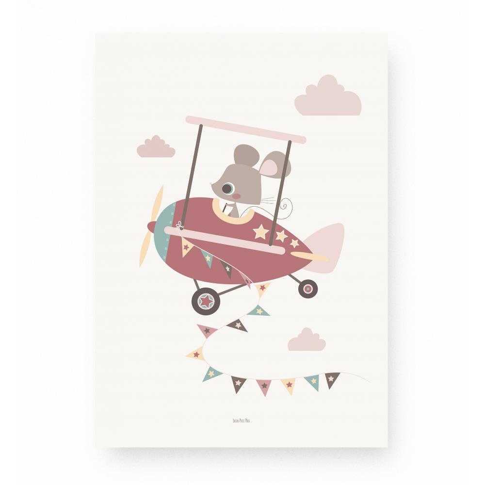 affiche pour enfant souris pilote avion rose