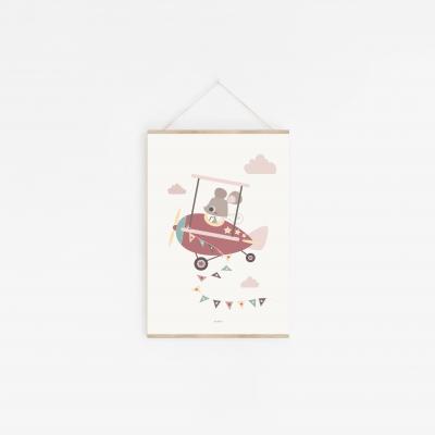 affiche enfant souris rose avion