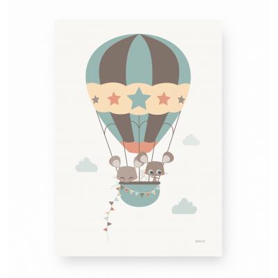 affiche pour enfant montgolfière bleu vert, affiche enfant souris, affiche enfant bleu vert