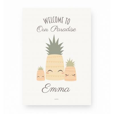 affiche enfant personnalisable ananas, affiche bébé ananas prénom
