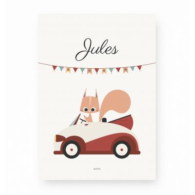 affiche enfant personnalisable écureuil et voiture