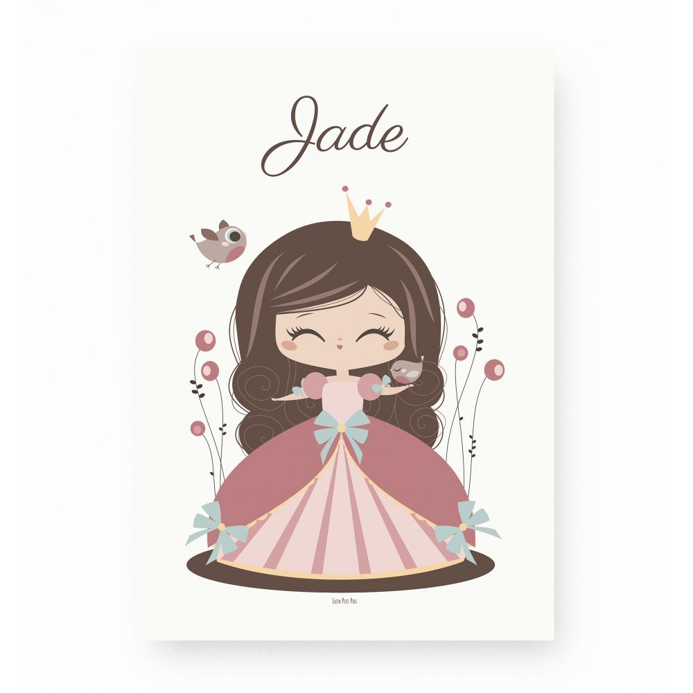 affiche enfant princesse personnalisable prénom