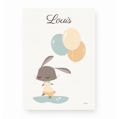 affiche bébé lapin personnalisable prénom