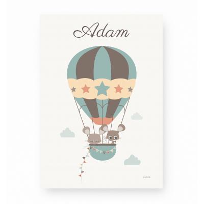 affiche enfant montgolfière personnalisable