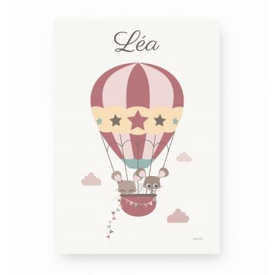affiche enfant souris montgolfière rose personnalisable