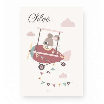 affiche bébé souris personnalisable prénom, avion rose