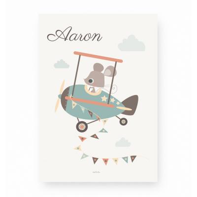 affiche enfant avion personnalisable