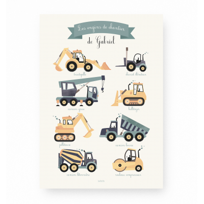 Affiche enfant engins de chantier personnalisable