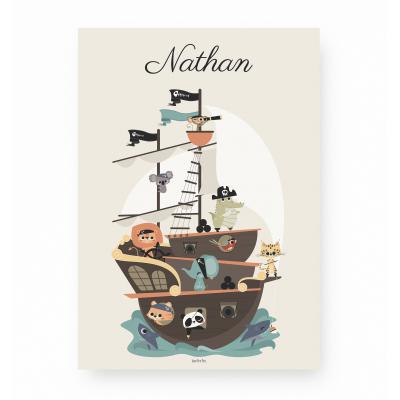 Affiche enfant bateau pirate personnalisable prénom