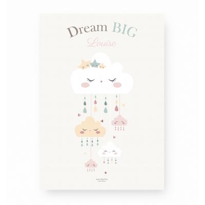 affiche bébé personnalisable, affiche bébé nuage rose pastel