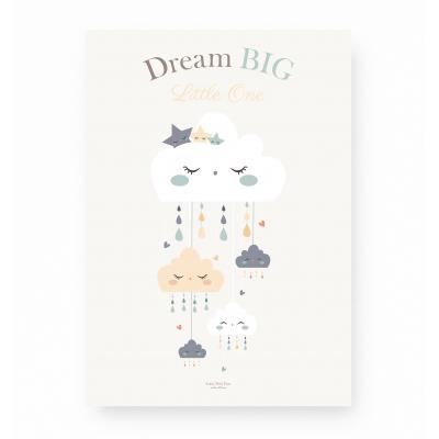 affiche bébé nuage étoile dream big little one