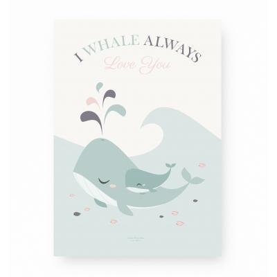 Affiche enfant baleine bleue et rose