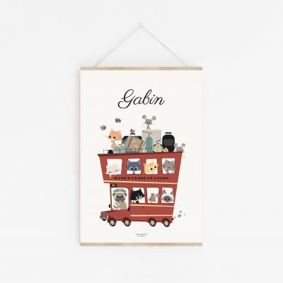 affiche enfant voiture personnalisable bus londonien vintage