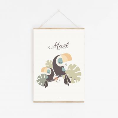 affiche bébé personnalisable toucan, affiche toucan prénom