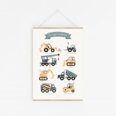 affiche enfant voitures, camions, chantier