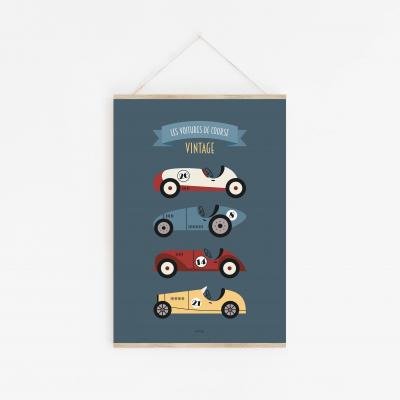 affiche enfant voitures de course, camions, véhicules