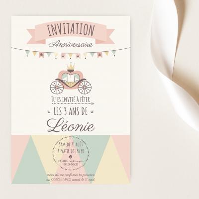 carte invitation anniversaire enfant princesse personnalisable, lutin petit pois