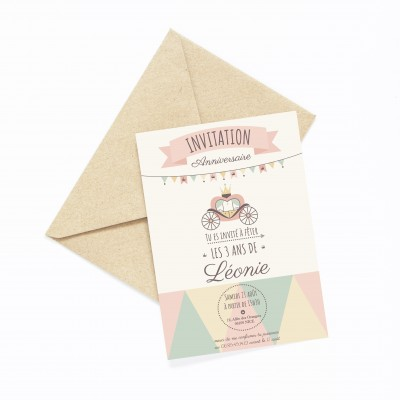 carte invitation anniversaire enfant, lutin petit pois, carte anniversaire enfant princesse