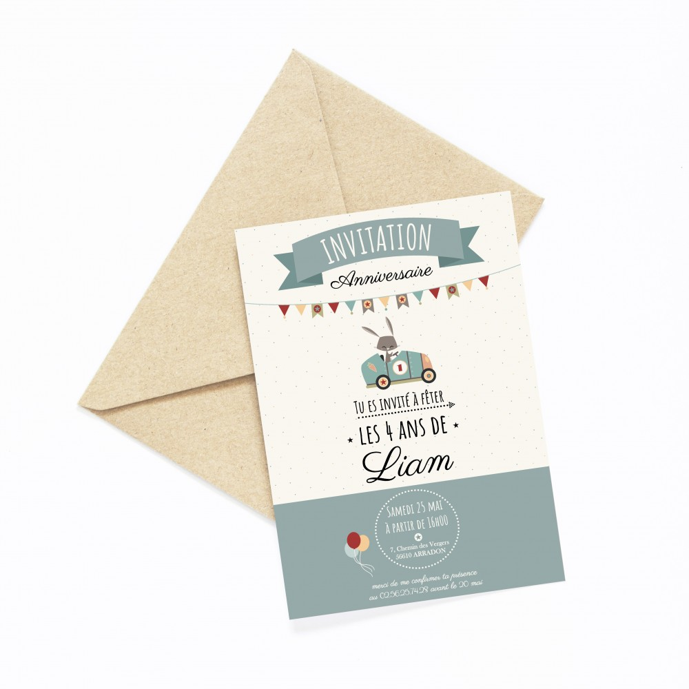 carte invitation anniversaire enfant garçon, carte invitation anniversaire enfant personnalisable, lutin petit pois