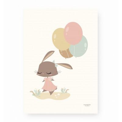 affiche bébé lapin rose, affiche enfant lapin, affiche enfant ballons roses, affiche bébé rose et ocre
