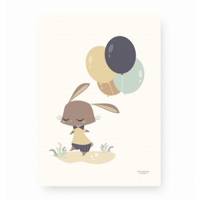 affiche enfant lapin bleu, affiche enfant lapin ocre, affiche enfant garçon, affiche enfant animaux, lutin petit pois