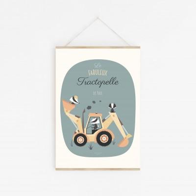 affiche bébé tractopelle, affiche engin chantier, affiche bébé véhicule, affiche enfant voiture