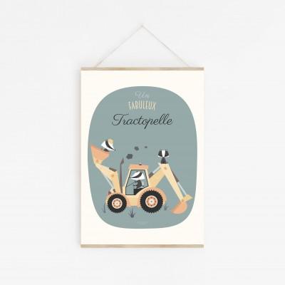 affiche bébé tractopelle, affiche bébé voiture, affiche bébé camion, lutin petit pois