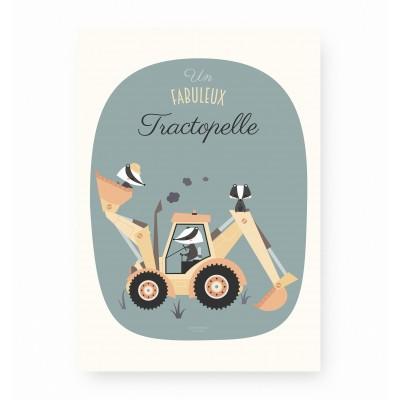 affiche enfant tractopelle, affiche enfant véhicule, affiche enfant engin de chantier, lutin petit pois