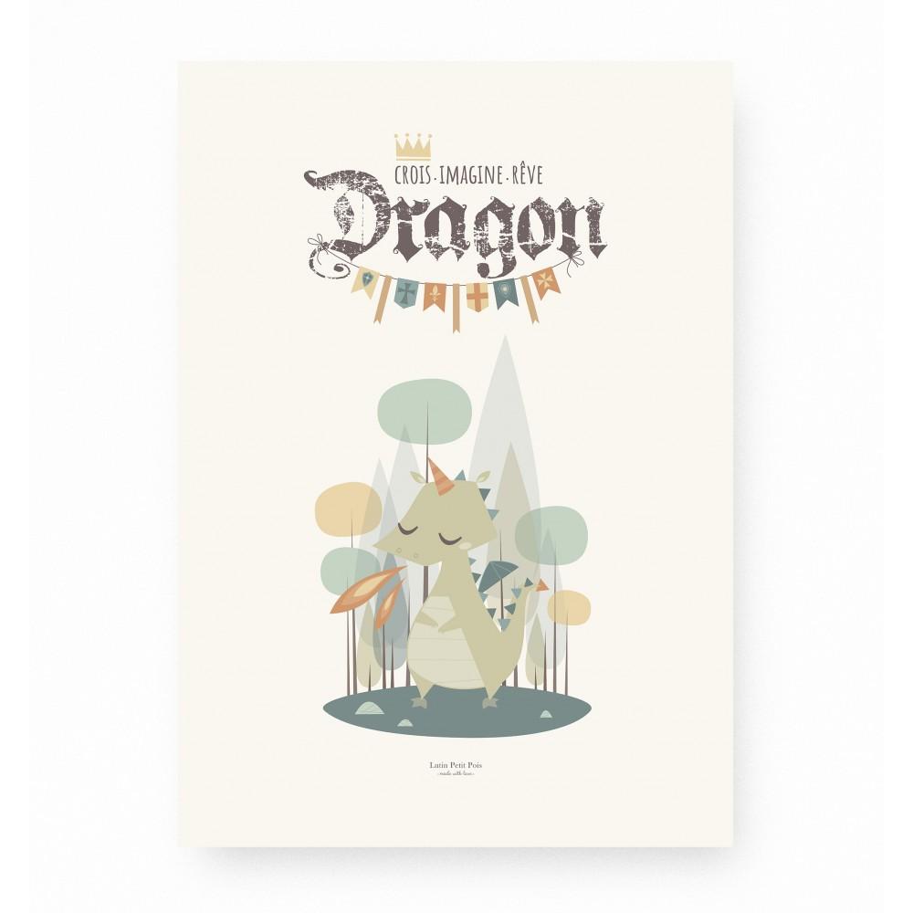 affiche enfant dragon, affiche bébé dragon, affiche chevalier, lutin petit pois