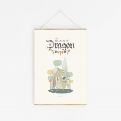 affiche chevalier, affiche dragon, affiche bébé garçon, lutin petit pois