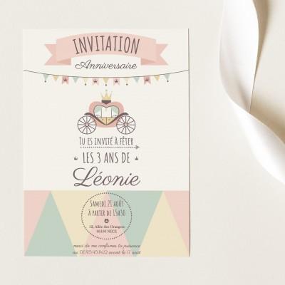 Cartes Invitation Anniversaire Personnalisables - Carrosse
