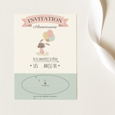 Cartes Invitation Anniversaire à Remplir - Lapinette