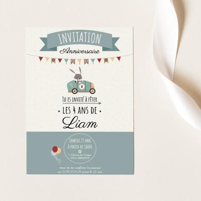 Cartes Invitation Anniversaire Personnalisables - Lapinou