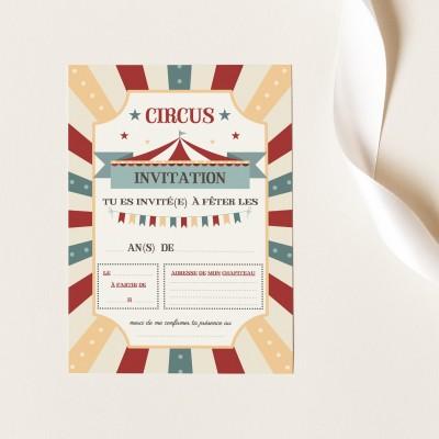 Cartes Invitation Anniversaire à Remplir - Circus