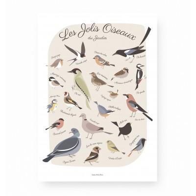 affiche oiseaux, affiche enfant oiseaux, lutin petit pois, affiche enfant animaux forêt