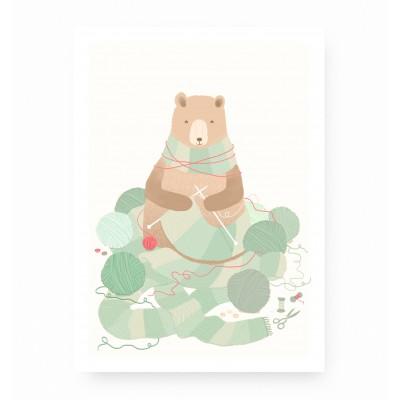 affiche bébé ours, affiche enfant ours, lutin petit pois