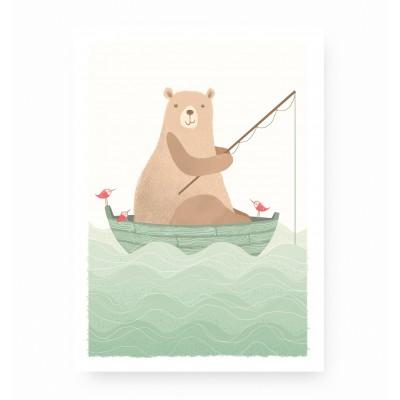 affiche enfant ours pêcheur, affiche bébé ours, lutin petit pois