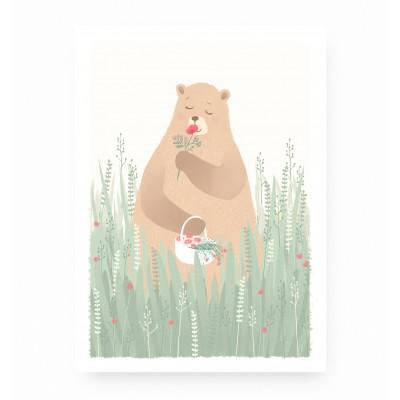 affiche bébé animaux forêt, affiche enfant ours, lutin petit pois