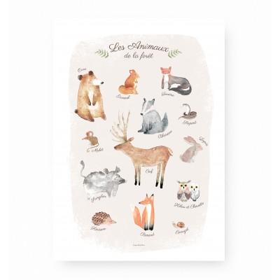 affiche enfant animaux forêt, lutin petit pois, affiche bébé animaux
