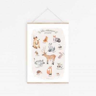 affiche enfant animaux des bois, affiche enfant ours, écureuil, hibou, cerf