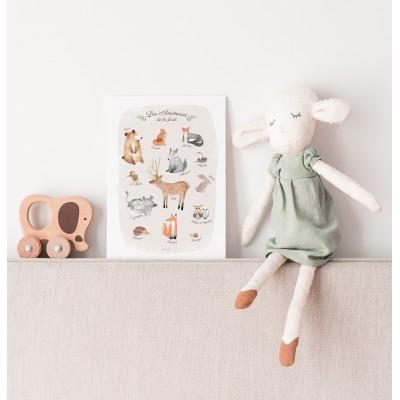 affiche bébé animaux forêt, affiche enfant cerf, lutin petit pois, affiche bébé lapin, ours