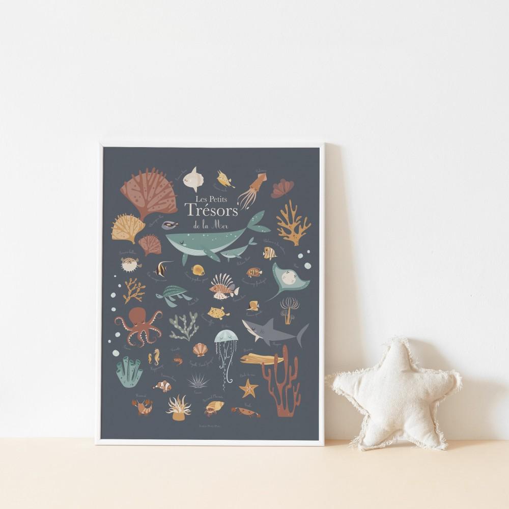 poster enfant animaux de la mer, poster tableau enfant animaux marins, lutin petit pois