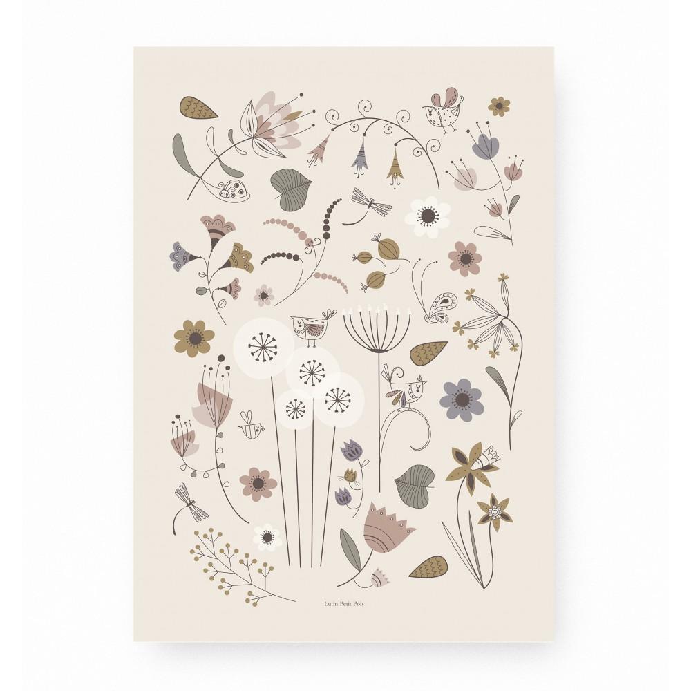 affiche enfant fleurs, affiche enfant herbier, affiche enfant oiseaux, lutin petit pois
