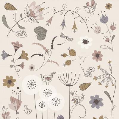 affiche enfant jardin enchanté, lutin petit pois, affiche fleurs, affiche bébé fleurs, affiche enfant fille