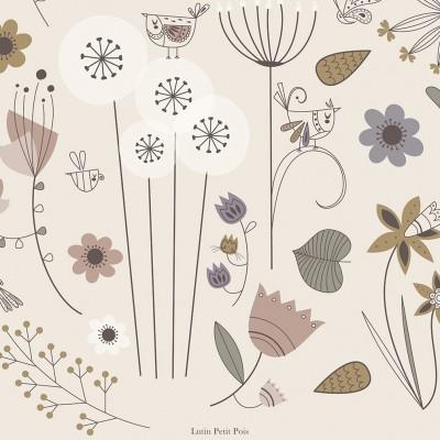 tableau enfant fleurs, tableau enfant herbier, tableau enfant oiseaux