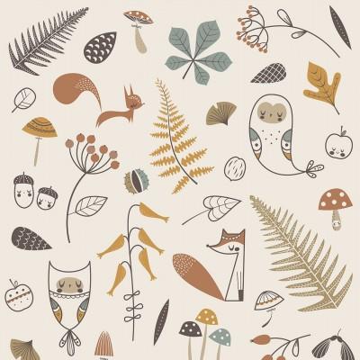 affiche enfant forêt enchantée, affiche enfant animaux des bois, lutin petit pois