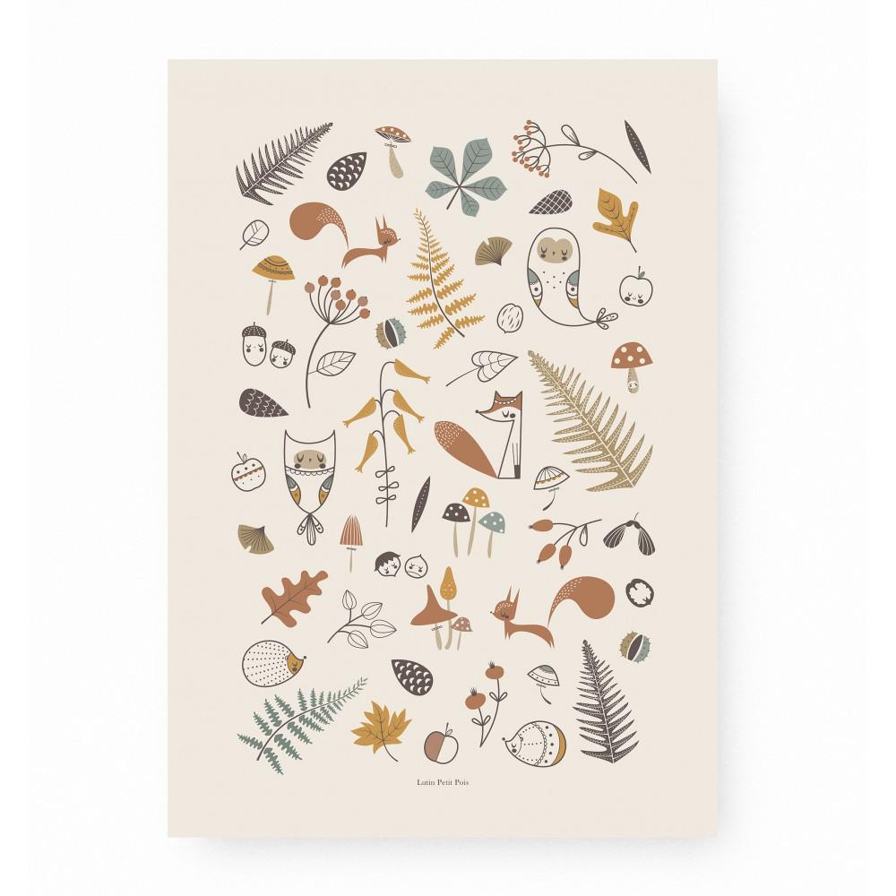 affiche enfant animaux forêt, lutin petit pois, affiche enfant renard, hérisson, écureuil