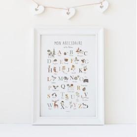 affiche enfant abécédaire animaux, affiche enfant alphabet nature, affiche enfant, affiche abc