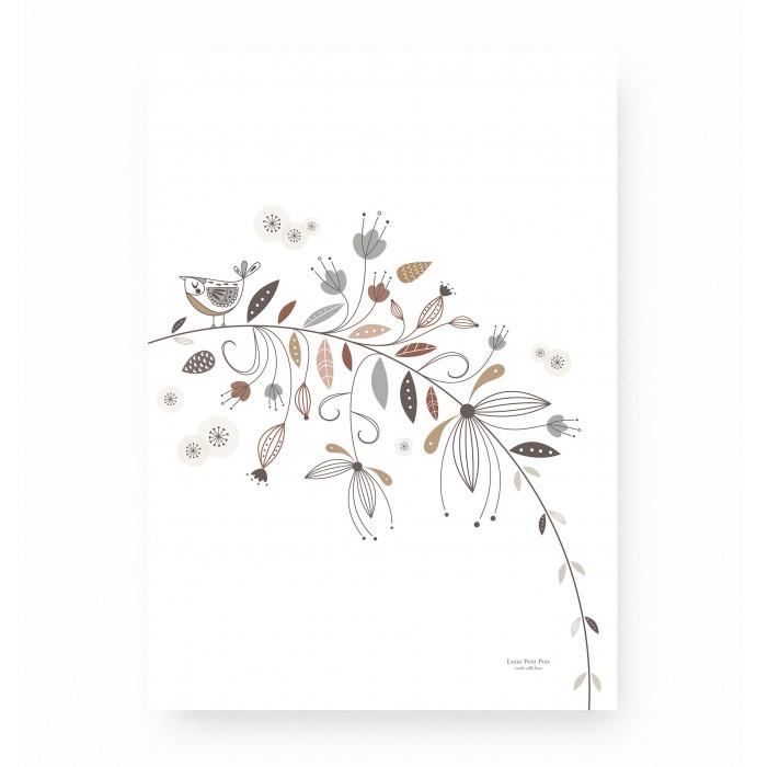 affiche enfant fleurs, affiche enfant florale, affiche enfant forêt enchantée, lutin petit pois
